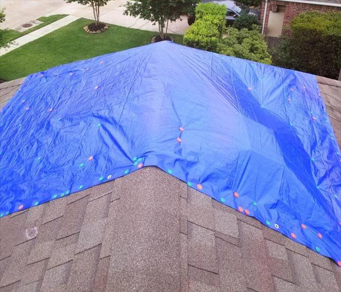 Blue tarp on roof