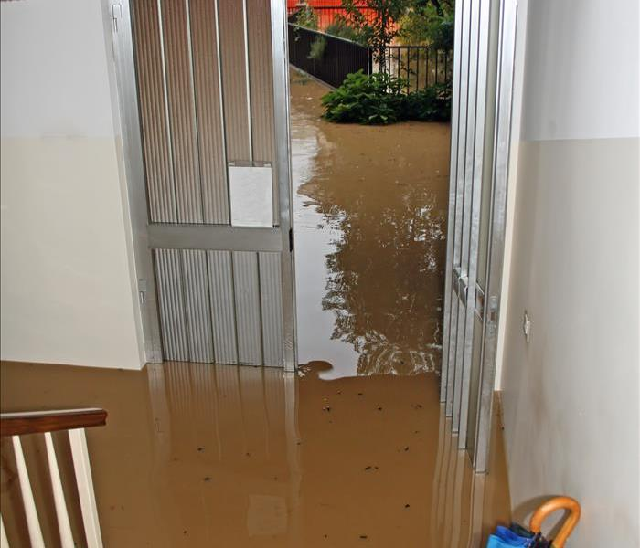 flood water invading a home